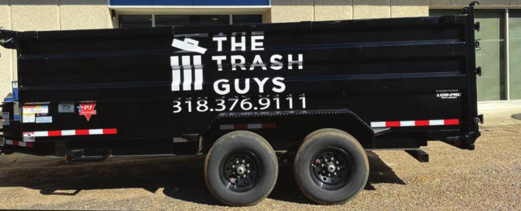 This trailer represents the beginning of The Trash Guys business venture in Union Parish. Owners Jordan Powell and Dylan Scott offer weekly household trash pickup service at your home all across Union Parish. Call the number on the trailer for more information. Gazette photo